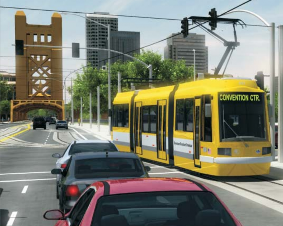 Sacramento streetcar rendering from a report prepared for the city by URS Corp.