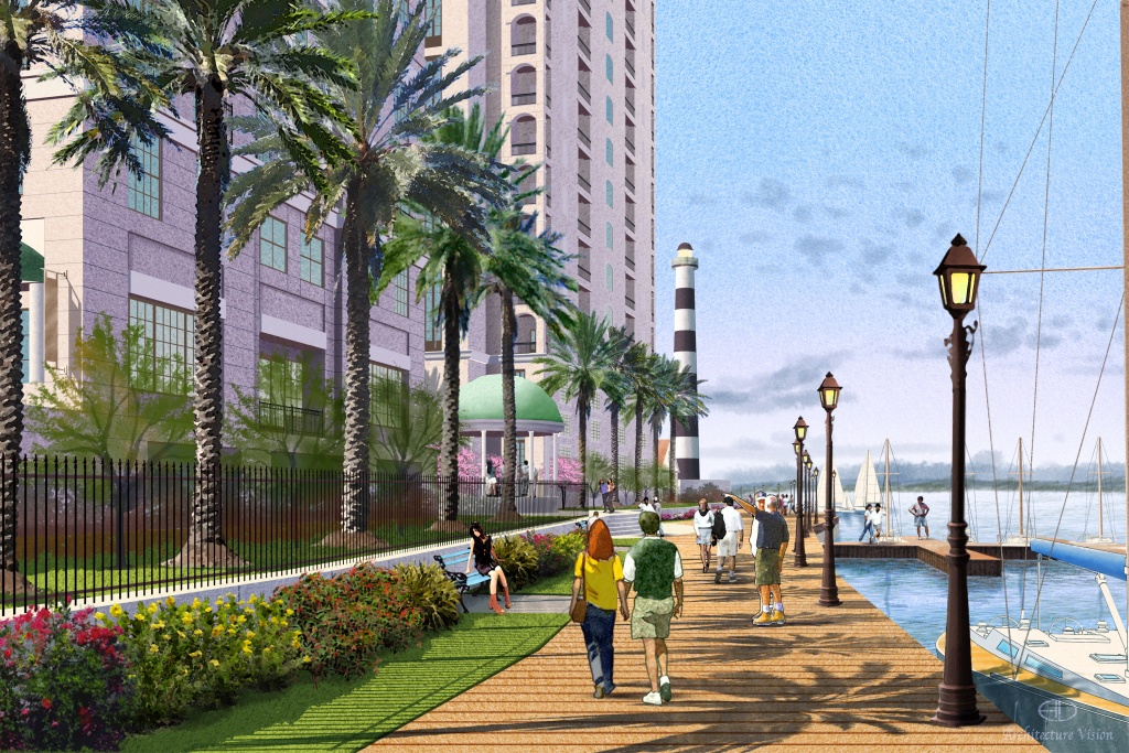 Rendering of a walkable community Beacon Island in League City.