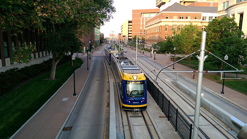 The new Green Line runs through the University of Minnesota. Photo by Michael Hicks on Flickr.